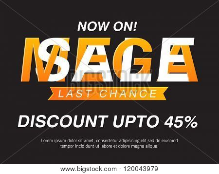 Mega Sale Poster, Banner or Flyer with 45% discount offer for limited time only.