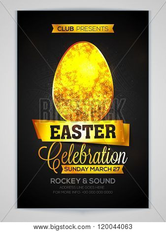 Golden glittering Egg decorated, Elegant Invitation Card design for Easter Party celebration.