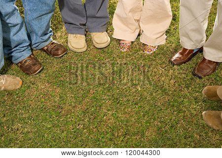 Six students stood outdoors