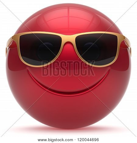 Smiling face head ball cheerful sphere emoticon cartoon smiley happy decoration cute red golden sunglasses. Smile funny joyful person laughing joy character toy avatar