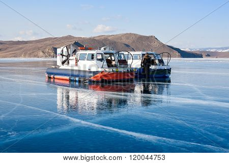 Hovercraft on the surface of Lake Baikal