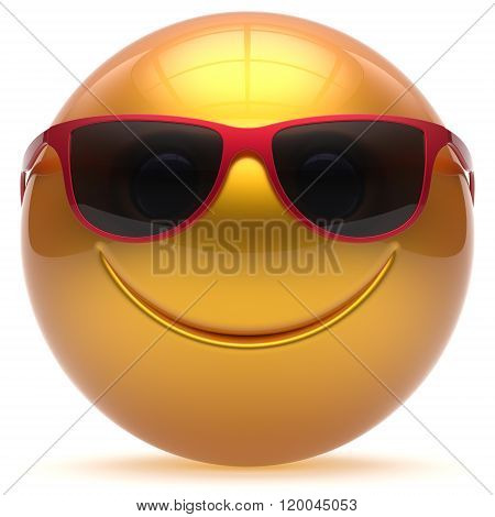 Smiling face head ball cheerful sphere emoticon cartoon smiley happy decoration cute yellow golden red sunglasses. Smile funny joyful person laughing joy character toy avatar