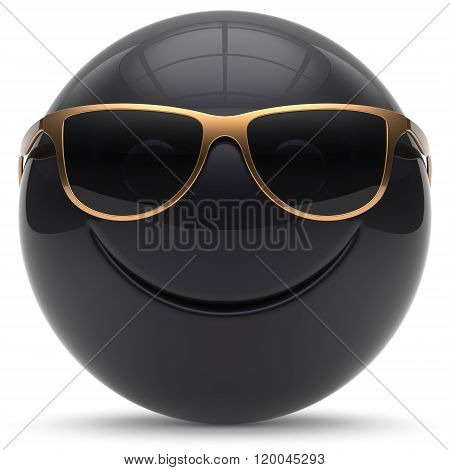 Smiley face head ball cheerful sphere emoticon cartoon smiling happy decoration cute black golden sunglasses. Smile funny joyful person character avatar