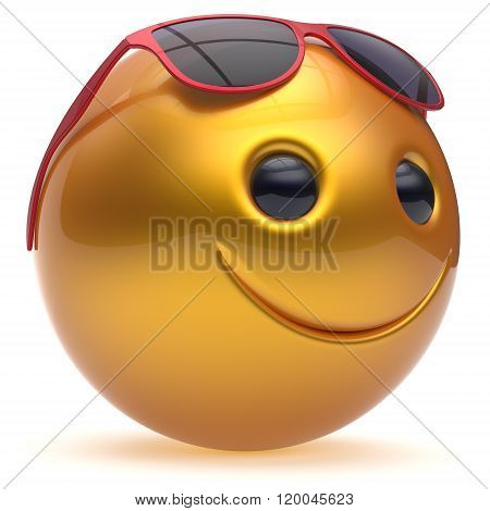 Smile face cheerful head ball sphere emoticon cartoon smiley happy decoration cute yellow red sunglasses. Smiling funny joyful person character avatar
