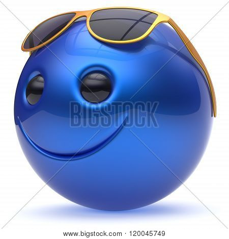 Smiley face cheerful head ball sphere emoticon cartoon smile happy decoration cute blue golden sunglasses