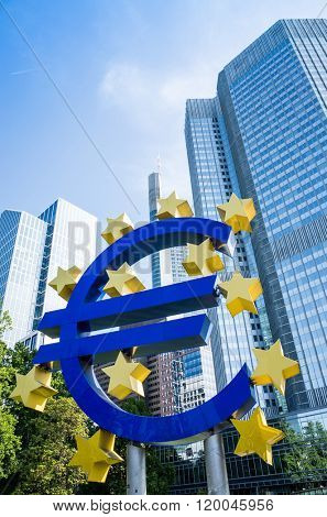 Frankfurt, Germany - May 17 : Euro Sign. European Central Bank (ECB) is the central bank for the euro and administers the monetary policy of the Eurozone. May 17, 2015 in Frankfurt, Germany.