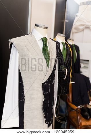 man suit draught on a manikin