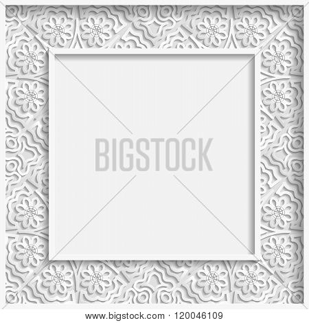 3D Vector bas-relief frame floral pattern festive pattern white pattern template greetings
