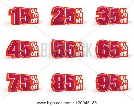 Set Of Discount Price Signs In Red Wool Look