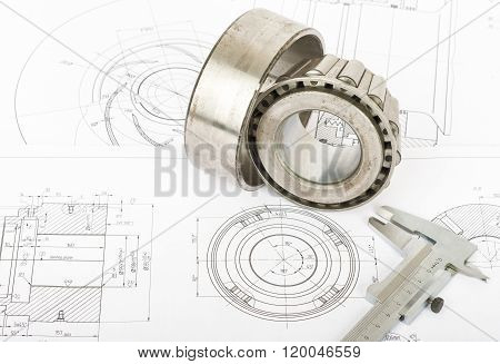 Roller bearing on blueprints