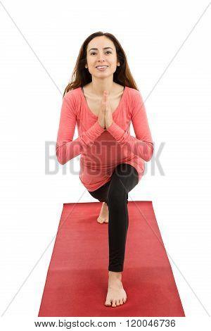 Crescent Pose With Namaste
