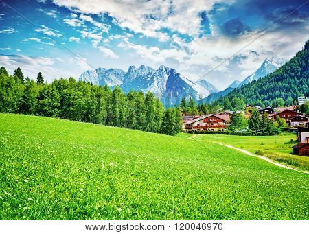Beautiful view on little mountainous village, Seefeld in Tirol is an old farming village, major tourist resort in Innsbruck-Land District in Austria, Europe