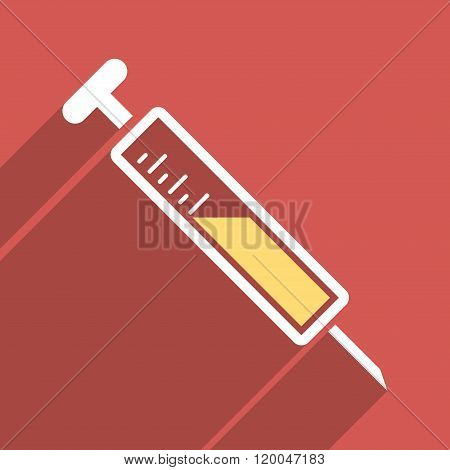 Injection Flat Longshadow Square Icon