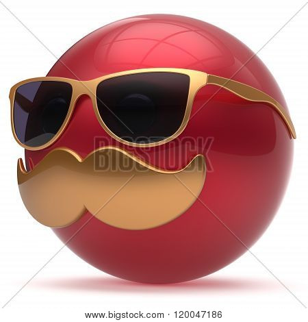 Cartoon mustache face emoticon ball happy joyful handsome person red golden sunglasses caricature icon. Cheerful eyeglasses laughing fun sphere positive smiley character avatar