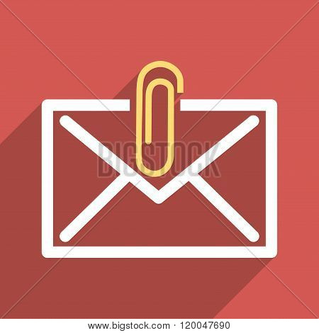 Mail Attachment Flat Longshadow Square Icon