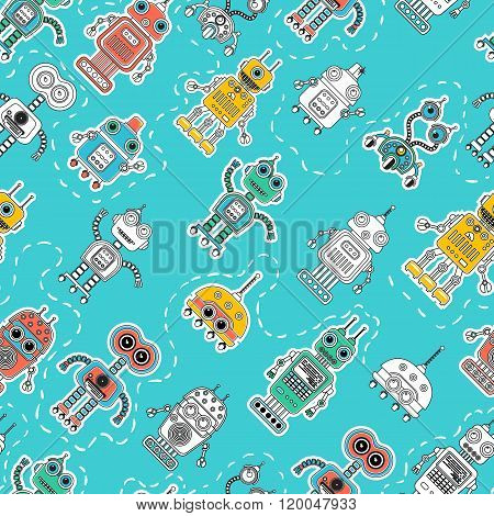 Vintage Tin Toy Robot Seamless Pattern
