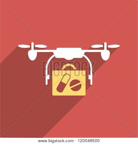 Medical Drone Shipment Flat Longshadow Square Icon