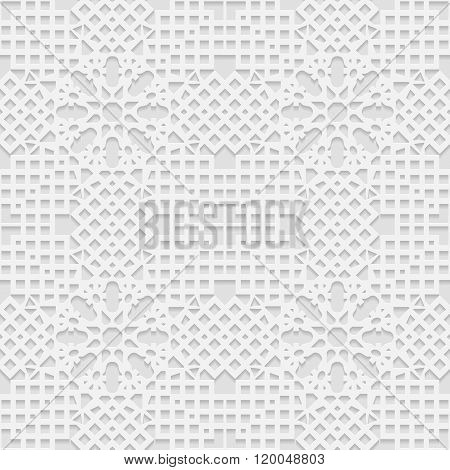 Seamless white 3D pattern arabic motif mandala background east ornament indian ornament vector. Endl