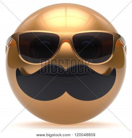 Mustache face emoticon ball happy joy handsome cartoon person black golden sunglasses stylish caricature. Cheerful eyeglasses fun sphere character avatar
