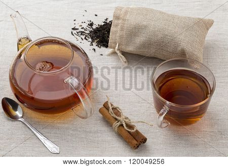 Glass Cup And Teapot Freshly Brewed Black Tea