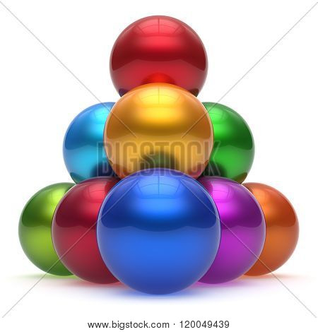Sphere ball pyramid hierarchy corporation top order leadership different element teamwork group business high level concept multicolored shiny sparkling