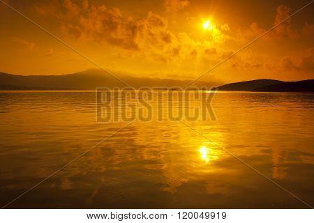 Beautiful sunset above the sea in Croatia