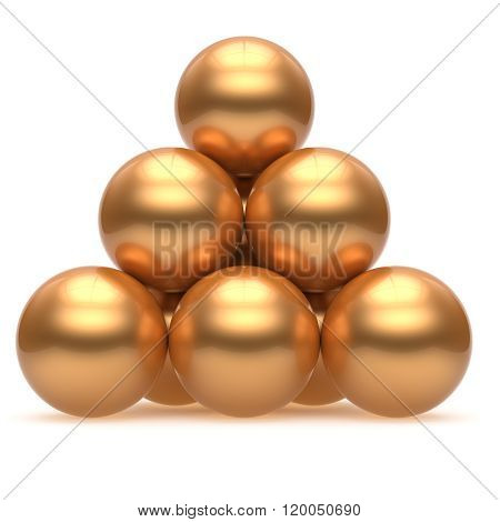 Pyramid sphere ball golden hierarchy corporation top order leadership element teamwork stable group business concept gold yellow shiny sparkling