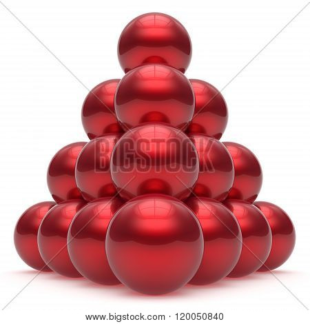 Pyramid hierarchy corporation sphere ball top order leadership element teamwork stable group business concept red shiny sparkling