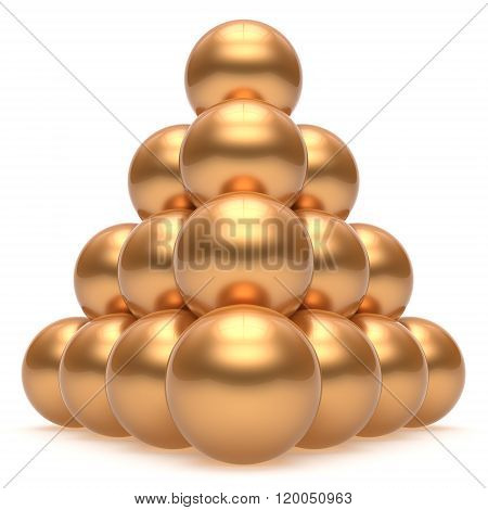 Pyramid hierarchy corporation sphere ball gold top order leadership element teamwork stable group business concept golden yellow shiny sparkling