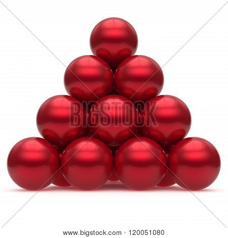 Pyramid hierarchy sphere ball red corporation top order leadership element teamwork stable group business concept shiny sparkling