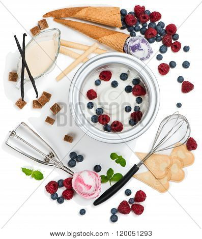 Ingredients For Ice Cream Of Berry, Top View