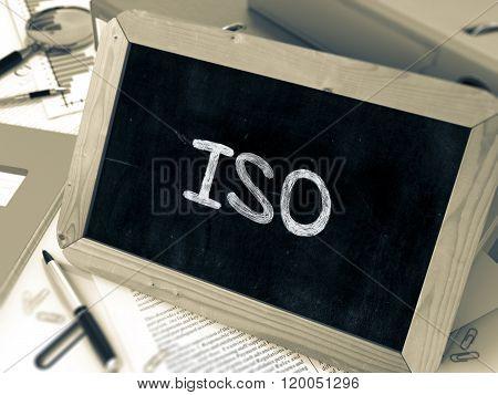 ISO Handwritten on Chalkboard.