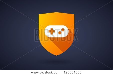 Long Shadow Shield Icon With  A Game Pad