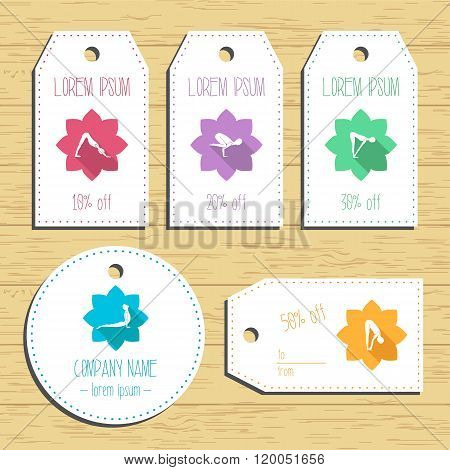 Yoga Discount Gift Tags. Ready To Use. Flat Design. Vector