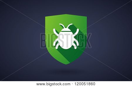 Long Shadow Shield Icon With  A Bug