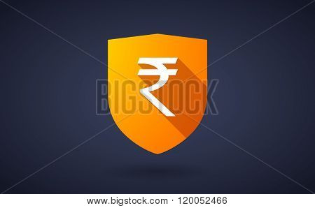 Long Shadow Shield Icon With  A Rupee Sign