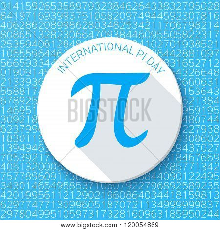 Pi sign with a shadow on a blue background. Mathematical constant, irrational number, greek letter.