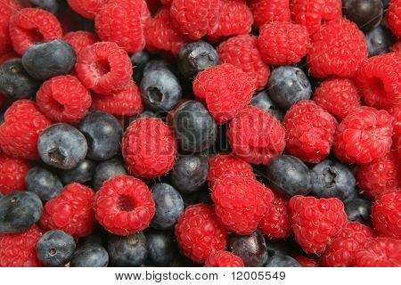 Rasberries and blueberries