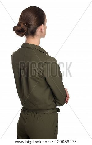 Rear View Of Young Beautiful Woman, Isolated