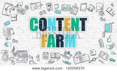 Content Farm Concept. Multicolor on White Brickwall.