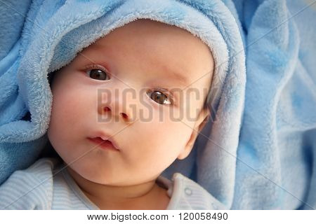 three month old baby wrapped in blue blanket