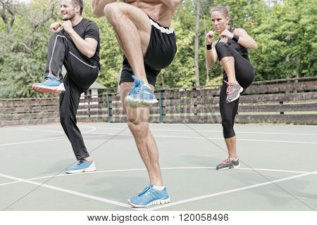 Three People On Tae Bo Training