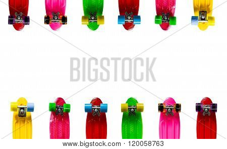 Background with colored skateboards