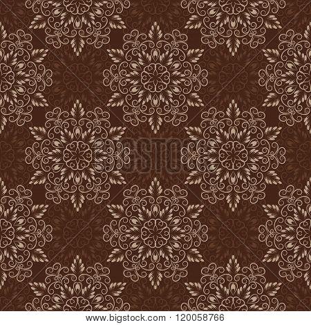 Vector Seamless Mandala Pattern over dark brown