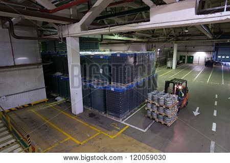 Warehouse Premises Beer And Other Alcoholic Beverages. Forklift Pallets