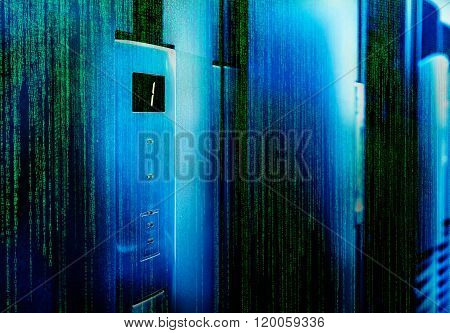 matrix code door mainframe screen and status bar blur focus
