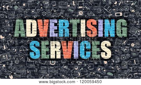 Advertising Services Concept with Doodle Design Icons.