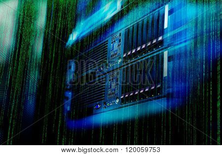 matrix code Blade server is a close-up with motiom and blur