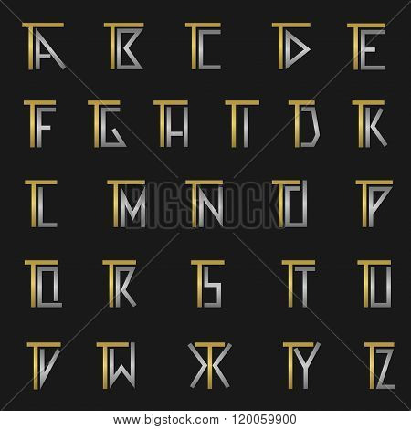 Letter T with alphabet