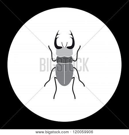 Simple Black Longhorn Beetle Black Icon Eps10
